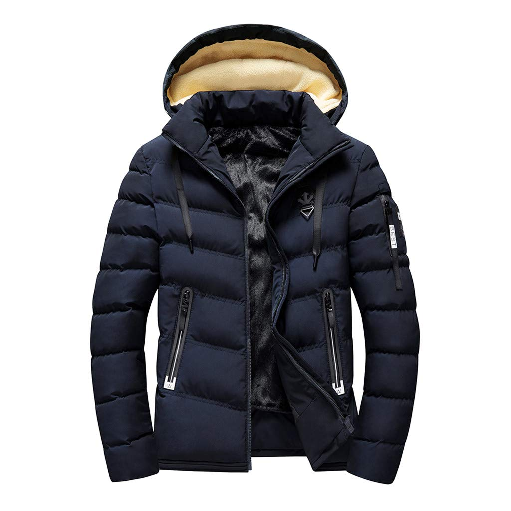 Keaac Men Autumn Winter Fleece Lined Jacket Stand Neck Zipper Warm Outdoor Coat