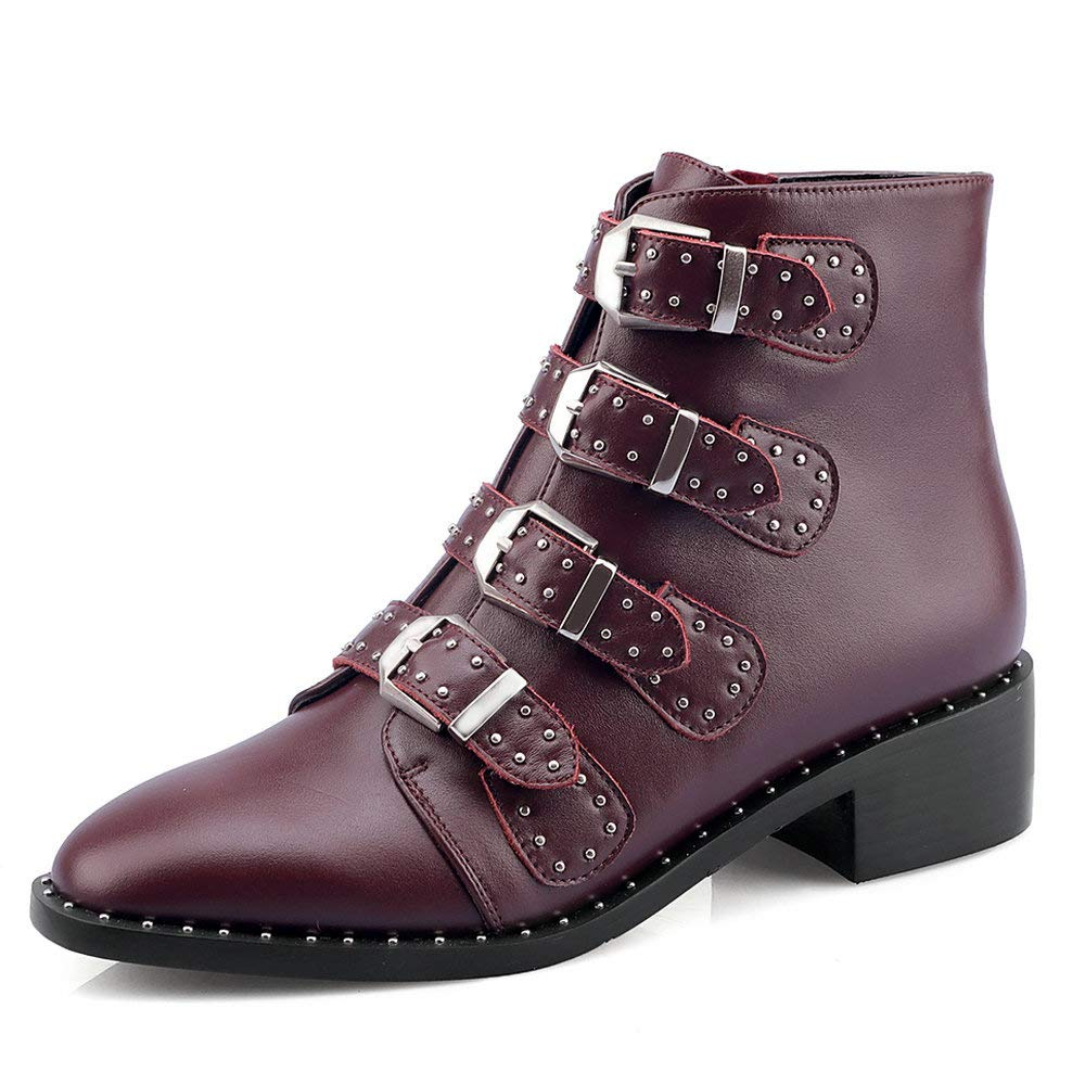 Wine Red AnMengXinLing Rivet Studded Ankle Boot Women Block Low Heel Pointed Toe Leather Buckle Strappy Punk Cowboy Chelsea Boot