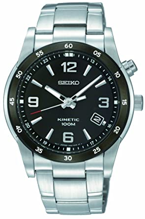 Seiko Mens SKA505 Stainless Steel Analog with Black Dial Watch
