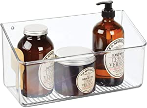 mDesign Wall Mount Plastic Home Storage Organizer Holder Basket - Hanging Bin Shelf Tray for Walls/Doors in Entryway, Mudroom, Bedroom, Bathroom, Office, Laundry, Kitchen, Pantry, Large - Clear