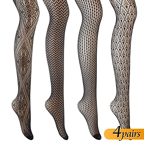 4 Packs Patterned Lace Black Sockings Fishnet Pantyhose Black Fishnets Sexy Fishnet Sockings Fishnet Tights for Women Leggings Fish Net Socks Panty Hose Design Tights -