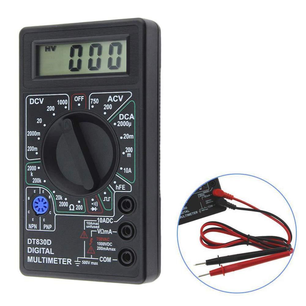 Ximimark 1Pcs Digital Multimeter AC//DC Ohmmeter Voltmeter Ammeter Avo Meter Dt830D Test Lead Portable LCD Display