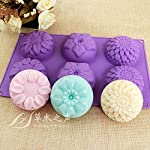 Pieces 6 Cavity Silicone Flower Soap Mold Chrysanthemum Sunflower Mixed Flower shapesCupcake Backing mold Muffin pan Handmade soap silicone Moulds 8 Dimensions:28*16.5*3CM Cavity Size:7.5*3cmNon-stick&Flexible: Pop out easily with smooth surface. Temperature Safe from -104 to +446 degrees Fahrenheit (-40 to +230 degrees Celsius) Safe use in Microwave, Oven, Refrigerator, Freezer and Dishwasher . 3 Different 3D Flower Pattern- can be used to make cupcakes, muffins, mini cakes, cake pops, cookies, lollipops, chocolates, breads, mini quiches and potpies, pudding and more! You can even use them as a tray to make uniquely shaped soap or ice.