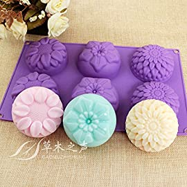Peicees 6 Cavity Silicone tFlower Soap Mold Chrysanthemum Sunflower Mixed Flower shapes Cupcake Backing mold Muffin pan Handmade soap silicone Moulds 12 <p>Peicees 6 cavity silicone cupcake mold Backing or cold process Safe use in Microwave, Oven, Refrigerator, Freezer and Dishwasher . Non stick and easy clean: Without residue wash easily. The cavity can turn over to clean. Just enjoy homemade your own special desserts and more other crafts at home with this MIXED flower silicone moulds Package included:1 x silicone mold( Purple,Blue color ship randomly.). Pieces 6 Cavity Silicone Flower Soap Mold Chrysanthemum Sunflower Mixed Flower shapes Cupcake Backing mold Muffin pan Handmade soap silicone Moulds Dimensions:28*16.5*3CM Cavity Size:7.5*3cmNon-stick&Flexible: Pop out easily with smooth surface. Temperature Safe from -104 to +446 degrees Fahrenheit (-40 to +230 degrees Celsius) Safe use in Microwave, Oven, Refrigerator, Freezer and Dishwasher . 3 Different 3D Flower Pattern- can be used to make cupcakes, muffins, mini cakes, cake pops, cookies, lollipops, chocolates, breads, mini quiches and potpies, pudding and more! You can even use them as a tray to make uniquely shaped soap or ice.</p>