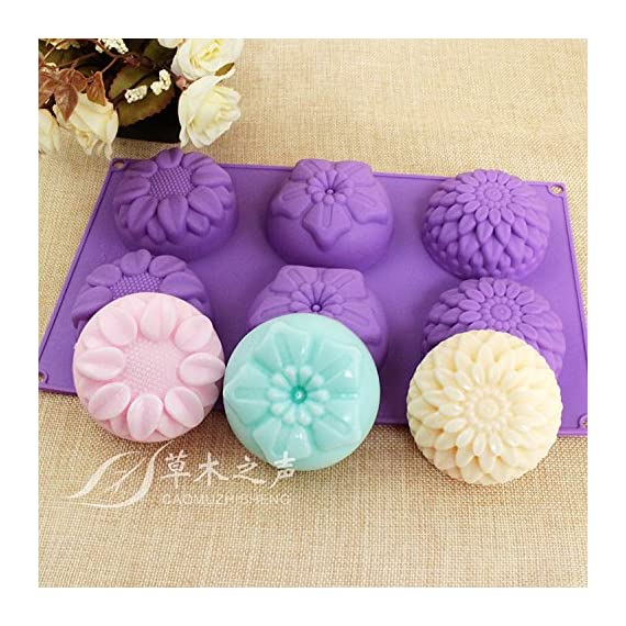 Pieces 6 Cavity Silicone Flower Soap Mold Chrysanthemum Sunflower Mixed Flower shapesCupcake Backing mold Muffin pan Handmade soap silicone Moulds 1 Dimensions:28*16.5*3CM Cavity Size:7.5*3cmNon-stick&Flexible: Pop out easily with smooth surface. Temperature Safe from -104 to +446 degrees Fahrenheit (-40 to +230 degrees Celsius) Safe use in Microwave, Oven, Refrigerator, Freezer and Dishwasher . 3 Different 3D Flower Pattern- can be used to make cupcakes, muffins, mini cakes, cake pops, cookies, lollipops, chocolates, breads, mini quiches and potpies, pudding and more! You can even use them as a tray to make uniquely shaped soap or ice.