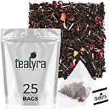 Tealyra - Lady Grey - 25 Bags - Delightful Black Loose Leaf Tea - Rose Petals and Lemongrass with Orange - Medium Caffeine - Pyramids Style Sachets