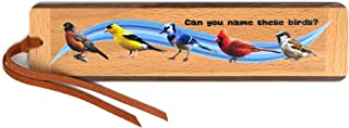 product image for Birds Quiz (Two-Sided) Handmade Wooden Bookmark with Suede Tassel - Birds Include: Robin, Goldfinch, Blue Jay, Cardinal, Sparrow