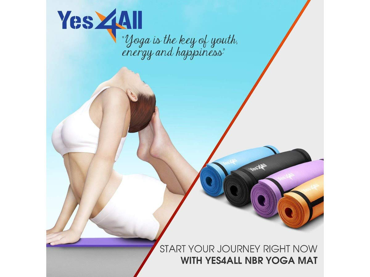 Purple with Carrying Strap Yes4All Premium NBR Printed Yoga Mat 1//2-inch 72x24
