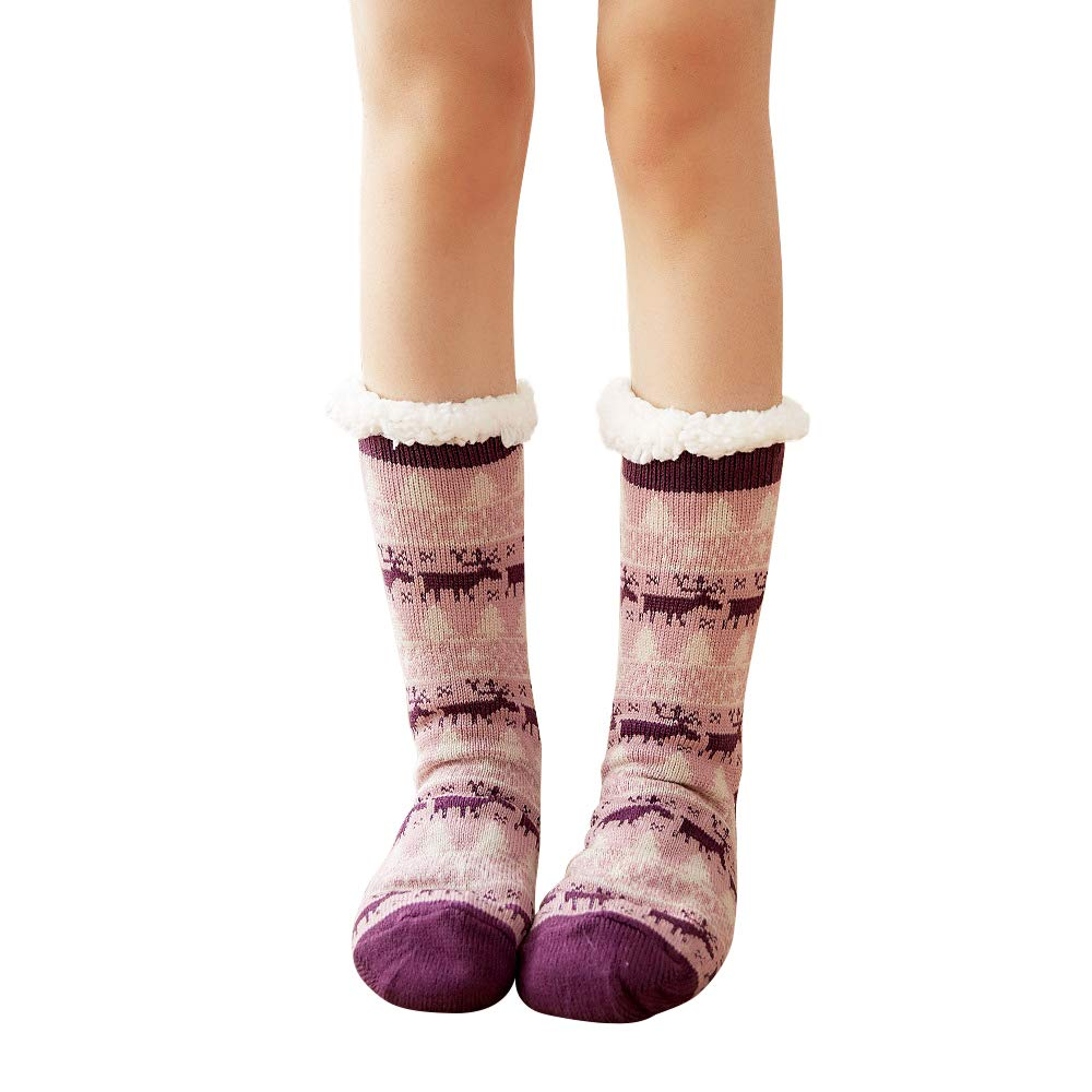 4YOUALL Womens Fleece Lining Soft Warm Fuzzy Sock, Christmas Thermal Knee High Stockings Slipper Socks (Purple Deer)