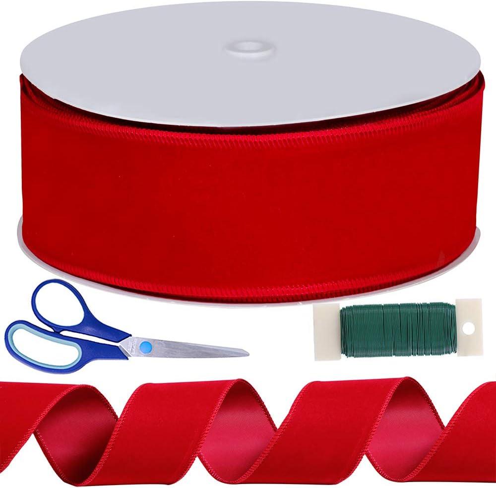 20 yard roll Greek Key red ribbon 2.5 Christmas ribbon red Christmas ribbon