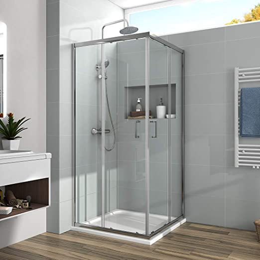 Puerta de ducha esquinera entrada corredera ducha encapsulado 6 mm vidrio Ducha Cubículo Reversible: Amazon.es: Bricolaje y herramientas