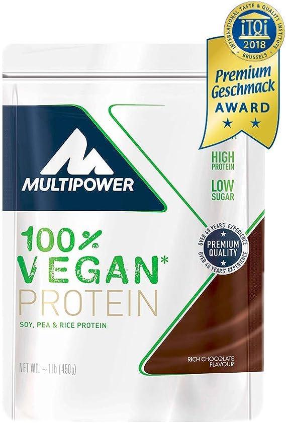 Multipower 100% Vegan Protein, Sabor Rich Chocolate - 450 gr
