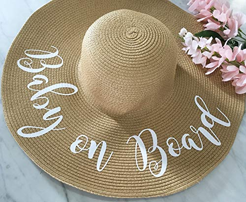 (Baby on Board Straw Hat, Pregnancy Announcement )