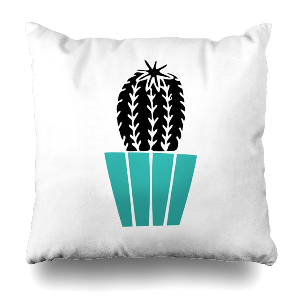 ONELZ Black Cactus in Turquoise Pot Square Decorative Throw Pillow Case, Fashion Style Zippered Cushion Pillow Cover (20X20 inch)