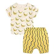 Baby Boys' Toddler Outfits Kids T-shirt Top Shorts Set(12-18m,Yellow Bananas)