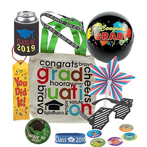Graduation Goody Canvas Tote Gift Bag w/ Sunglasses, Rubber Bracelet, Small Beach Ball, Lanyard, Can Cozy, Stress Ball, Stickers, Star Shape Fan, Satin Ribbon (Green)