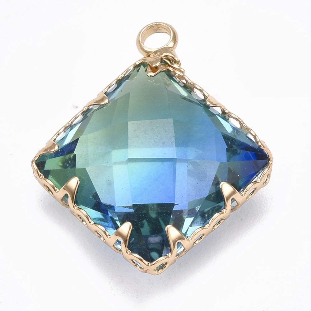 UR URLIFEHALL 2 piezas facetadas de cristal K9 imitación turmalina con hallazgos de latón forma rombo dorado colorido para DIY encantos collar pulsera joyería fabricación (tipo 1)