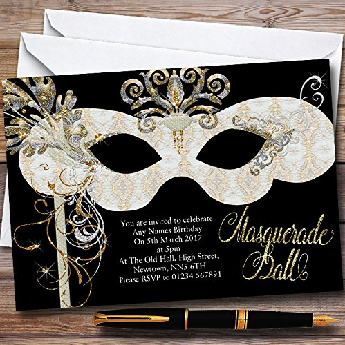 White & Gold Masquerade Ball Personalized Party Invitations