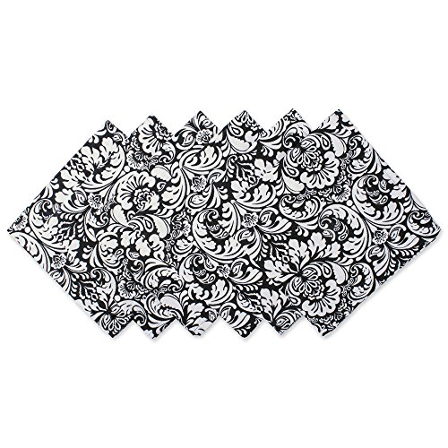 Damask Holiday Photo - DII 100% Cotton, Oversized Basic 20x20 Damask Napkin For Holidays, Buffets, Parties, Special Occasions, or Everyday Use - Set of 6, Black