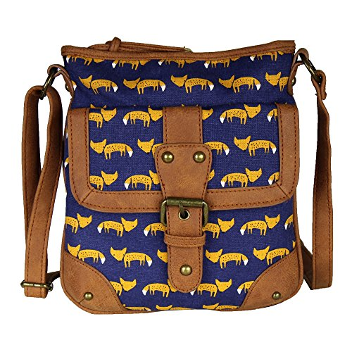 Print Canvas Cross Body (Navy Yellow Fox Print Cotton Canvas Crossbody Bag – Vegan Faux Leather Handbag)