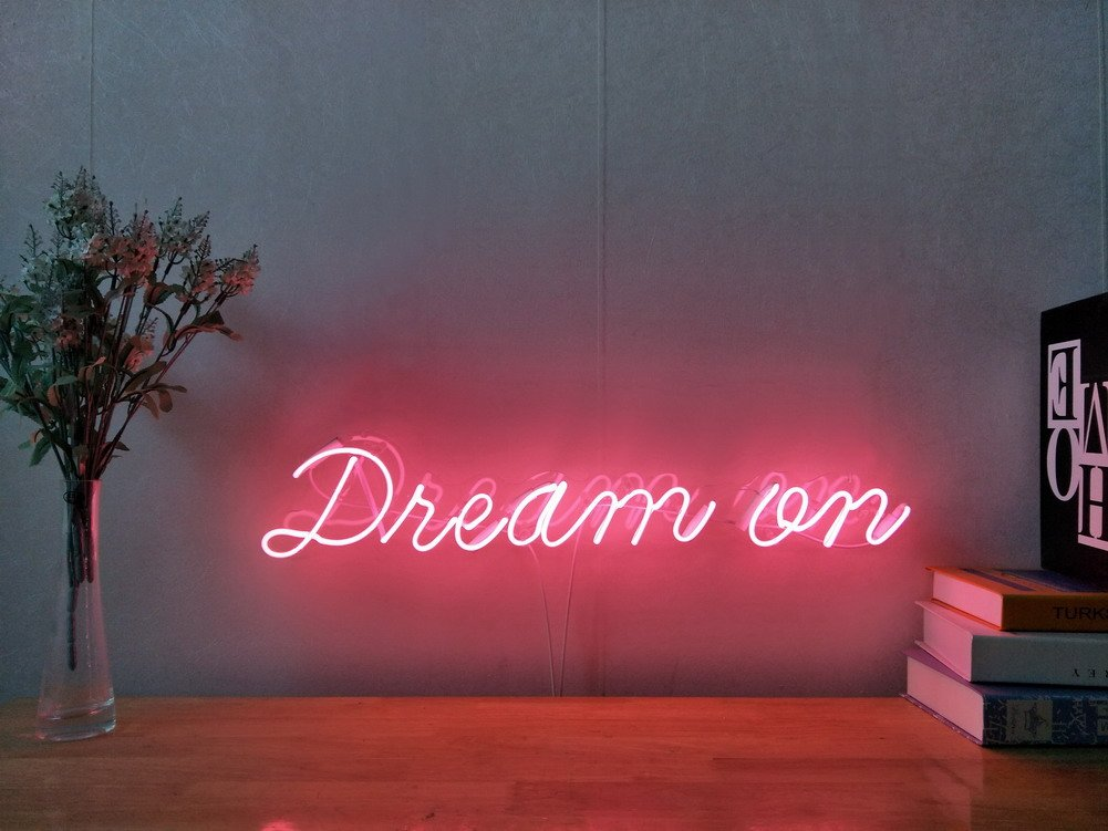 Dream On Real Glass Neon Sign For Bedroom Garage Bar Man Cave Room Home Decor Handmade Artwork Visual Art Dimmable Wall Lighting Includes Dimmer