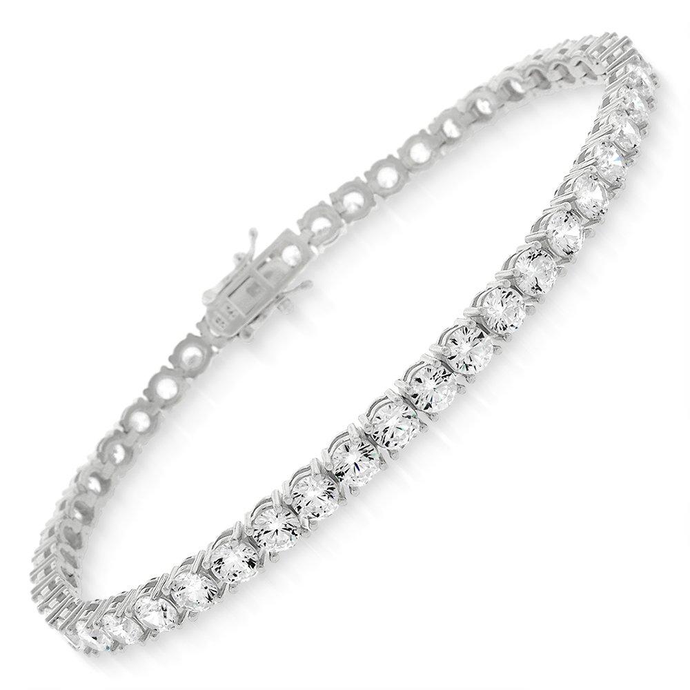 Sterling Silver 4mm Brilliant-Cut Clear Round CZ White Tennis Bracelet 6.5'', 7'', 8'' (8)