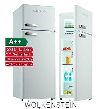 Kühlschrank retro weiß  Retro Kühl-Gefrier-Kombination Weiß Glanz GK212.4RT A++ 206 Liter ...