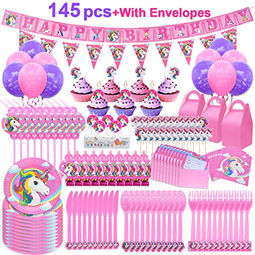 Pawliss 145ct Unicorn Birthday Party Decorations Supplies Kit, Favor Boxes, Candles Balloons, Cupcake Toppers, Knifes Forks Spoons Plates, Napkins Straws, Invitation Cards, Banners, Bulk Pack Serves10 -