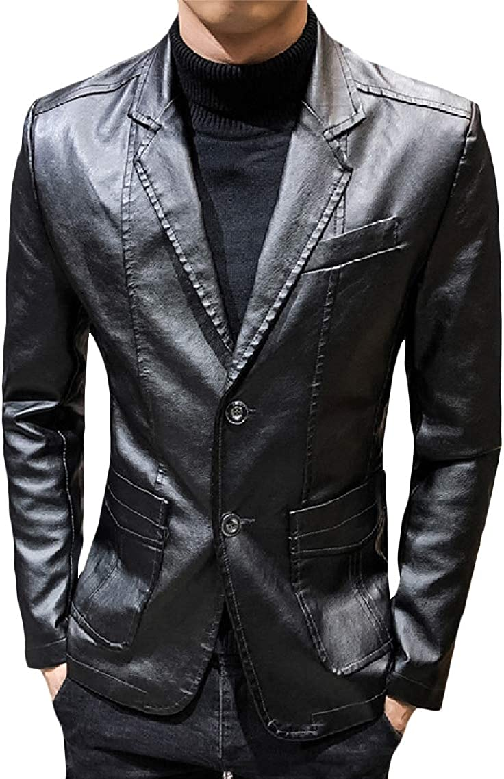 GodeyesMen Notch Lapel Turn-Down Collar Leisure Fitted Faux Leather Coat