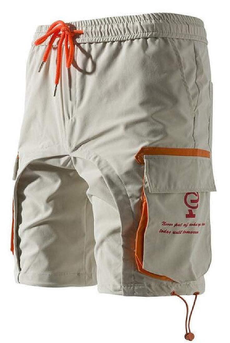 Fubotevic Mens Summer Contrast Multi Pockets Beach Swim Trunk Board Shorts