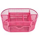 Cosprof Office Supplies Desk Organizer ,Mesh Multi-Functional Desktop Storage Box (Pink)
