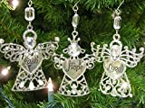 Faith Hope Love - Set of 3 Angel Ornaments with Faith Hope Love Engraved on thier Hearts - Christmas Angels Ornaments