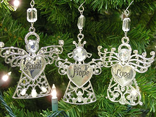 Faith Hope Love - Set of 3 Angel Ornaments with Faith Hope Love Engraved on thier Hearts - Christmas Angels Ornaments -