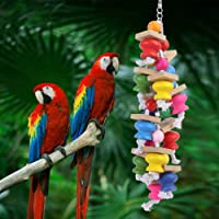 Parrot Toy, Wooden Bright Color Bird Toy, for Love Birds Wood Cage Cockatiels Cotton Rope