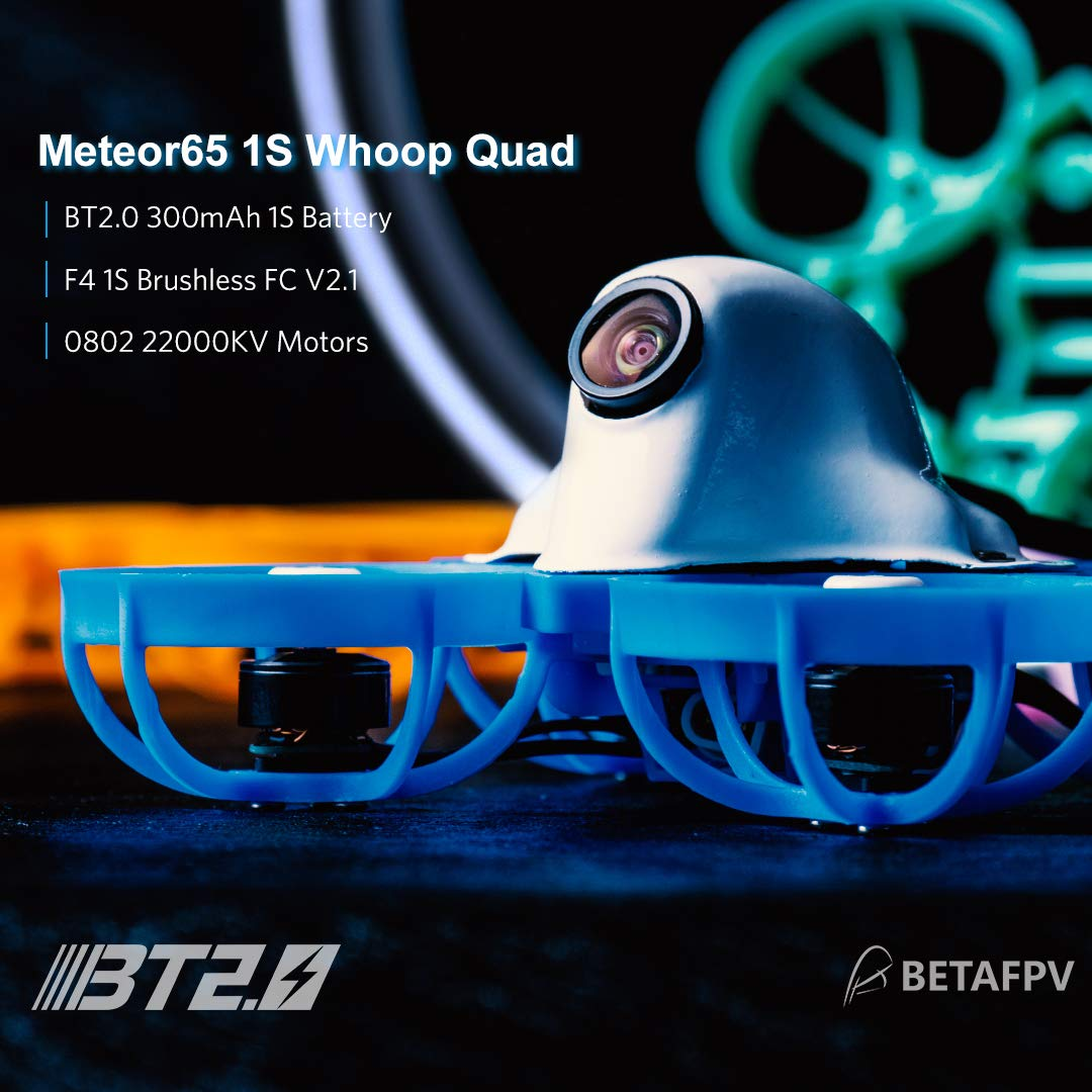 BETAFPV Meteor65 Racing 1S Brushless Whoop Drone DSMX with F4 1S Brushless FC V2.1 BT2.0 Connector 22000KV 0802 Motor M01 AIO Camera 25mW VTX for Micro Tiny Whoop FPV Whoop Drone Quadcopter