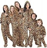 "Footed Pajamas - Family Matching Cheetah Print Hoodie Onesies for Boys, Girls, Men, Women and Pets (Kids - Medium (Fits 4'6-4'8"")) Tan"