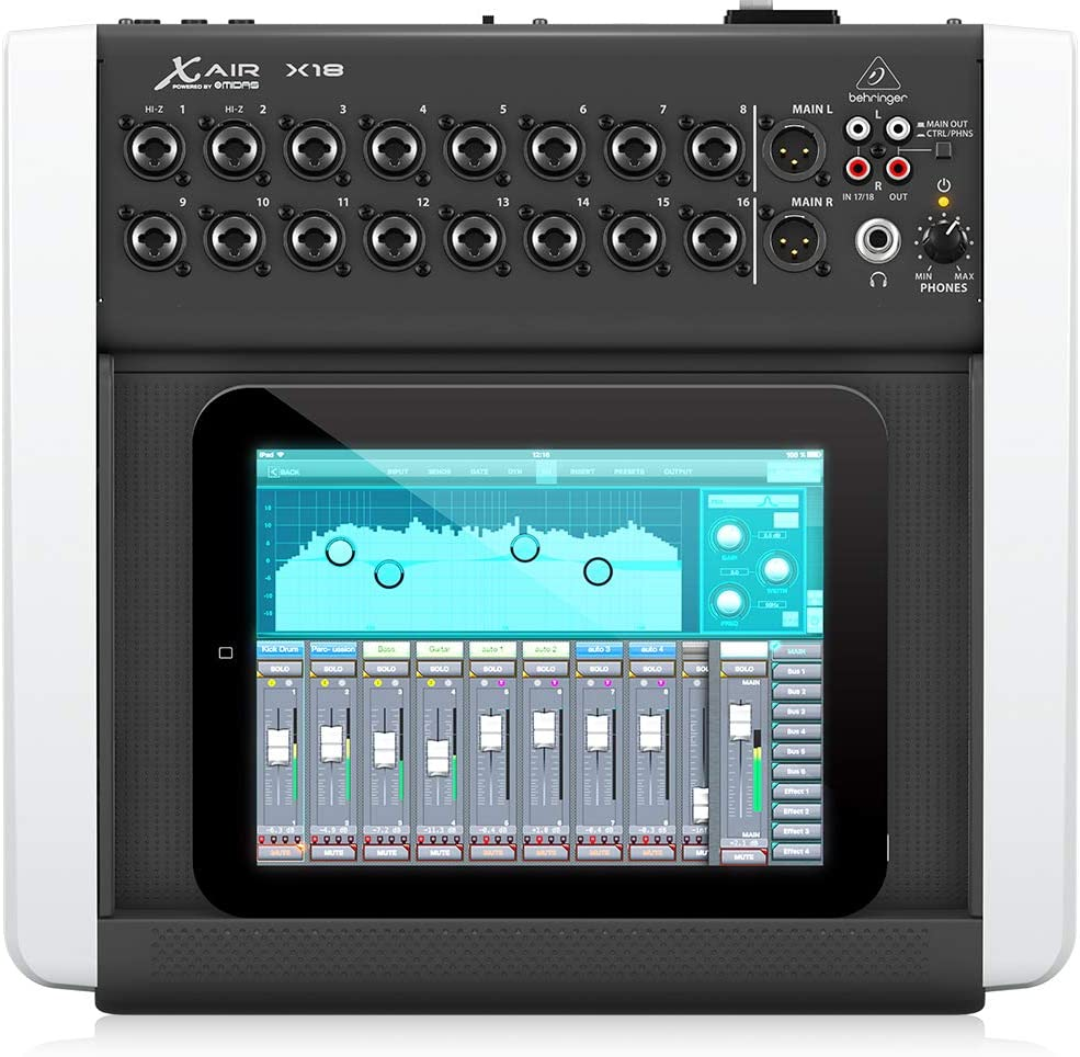 Behringer X18 18-Channel 12-Bus Digital Mixer for IPad/Android Tablets with 16 Programmable Midas Preamps Black