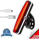 USB Rechargeable LED Bike Tail Light by VivoPro Sports! 180-Degree Visibility Bicycle Tail Light, High Intensity Red Color | USB Rechargeable Bike Taillight, Up to 6 Hours Run Time | Easy Mount Design