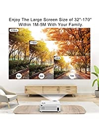 2400 Lumens Mini Projector (Upgraded Version) LED Portable Projector with Tripod, Video Projector with 170'' Display and 1080P Support, Compatible with Fire TV Stick, PS4, HDMI, VGA, TF, AV and USB