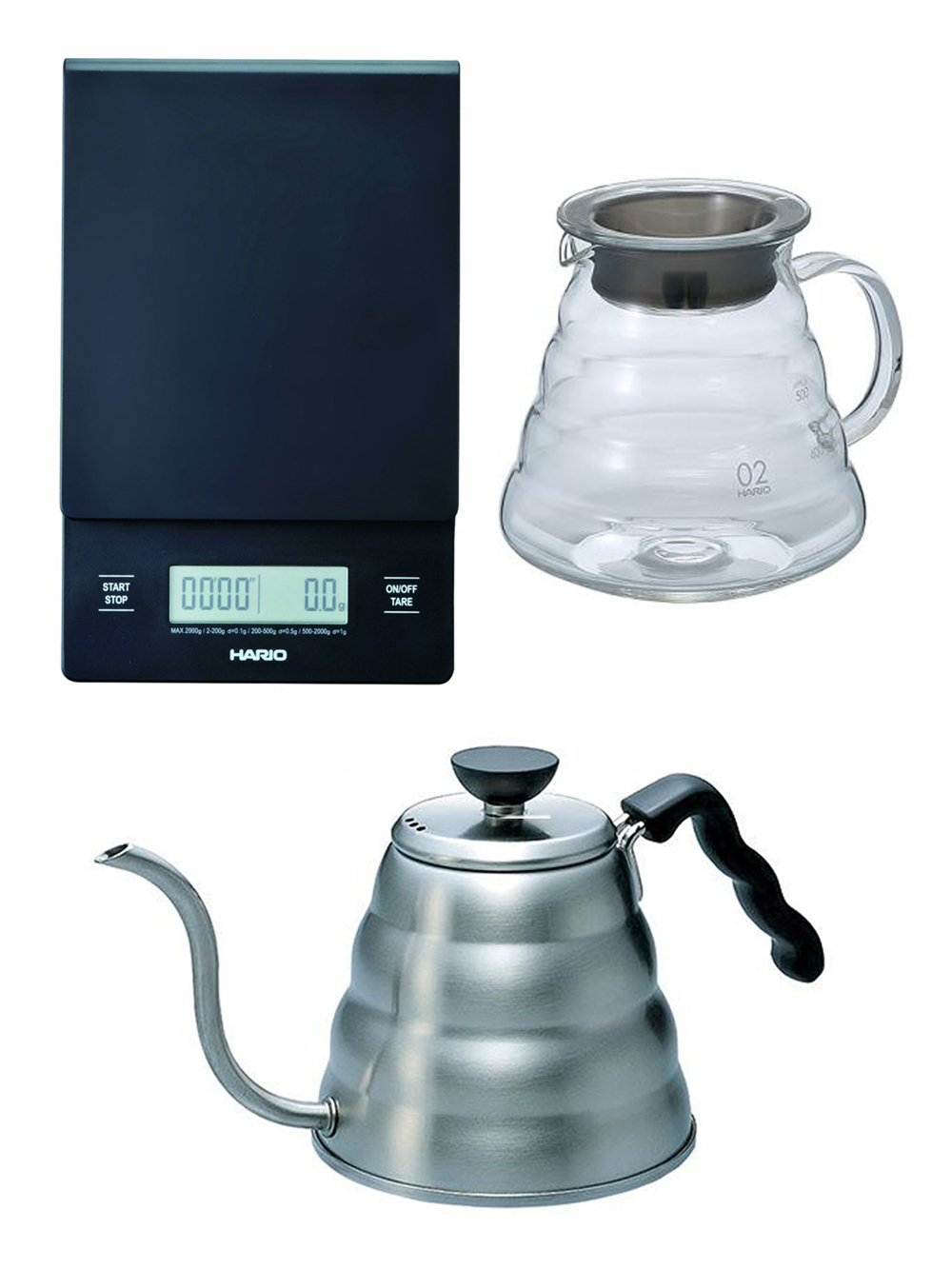 Hario V60 Series Set of Three: Scale, Glass Kettle & Metal Kettle All Sold Together