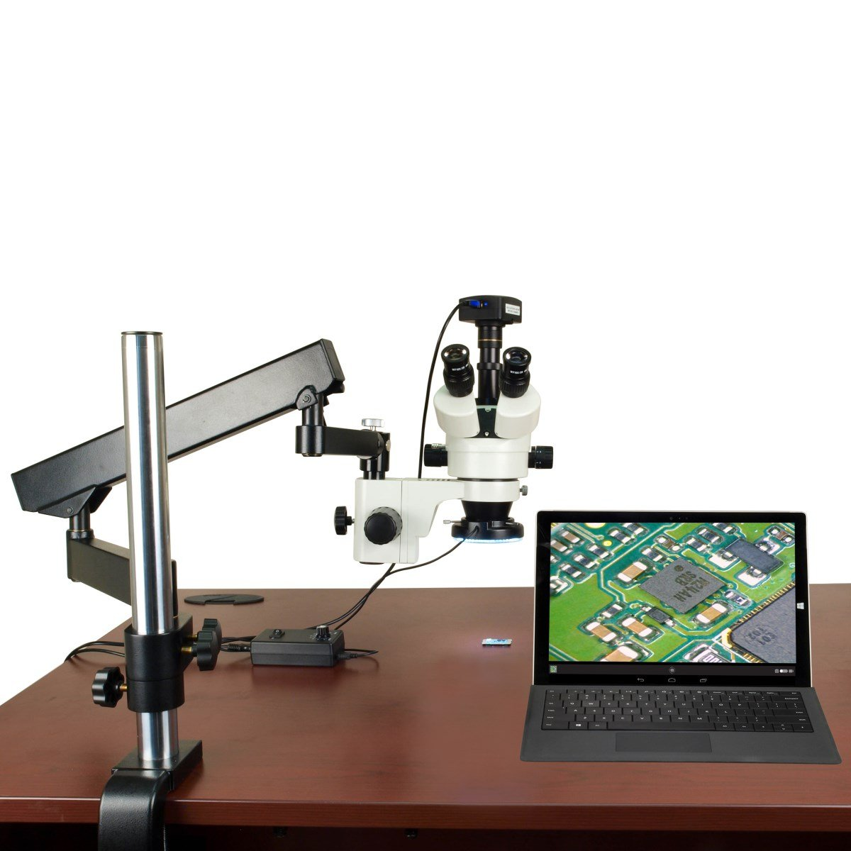 3.5X90X 720p WiFi Digital Zoom Stereo Microscope on Articulating Arm Stand with 144 LED Ring Light