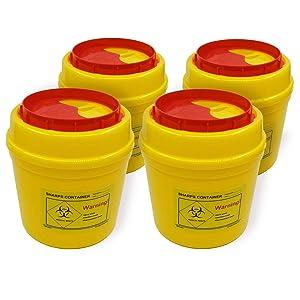 4-Pack Sharps Container(1/2 Quart),Sharps Needle Disposal Containers,Biohazard Containers Sharps Box Small Sharps Container Needle Disposal Box