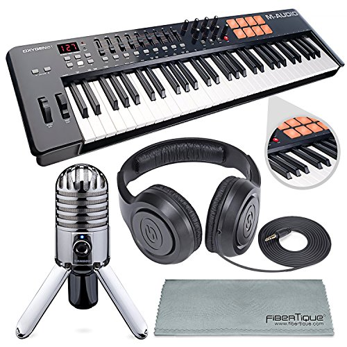 M-Audio Oxygen 49 MK IV 49-Key USB MIDI Keyboard/Drum Pad Controller with VIP Software Download and Samson Meteor Mic USB Microphone Accessory ()
