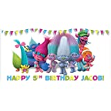 Trolls Birthday Banner Personalized Party Decoration Backdrop