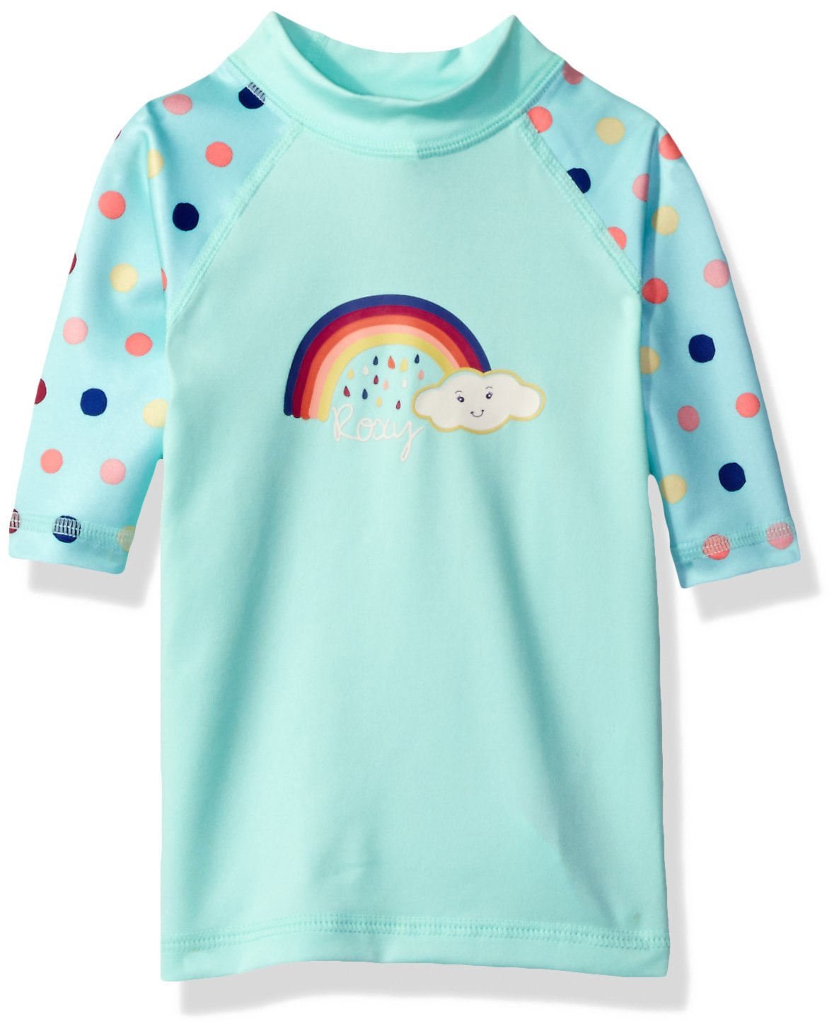 Roxy Toddler Girls' Sweet Tooth Kids Short Sleeve Rashguard, Beach Glass, 2