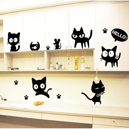 Stonges Dormitorio de los niños negro gato de dibujos animados ...