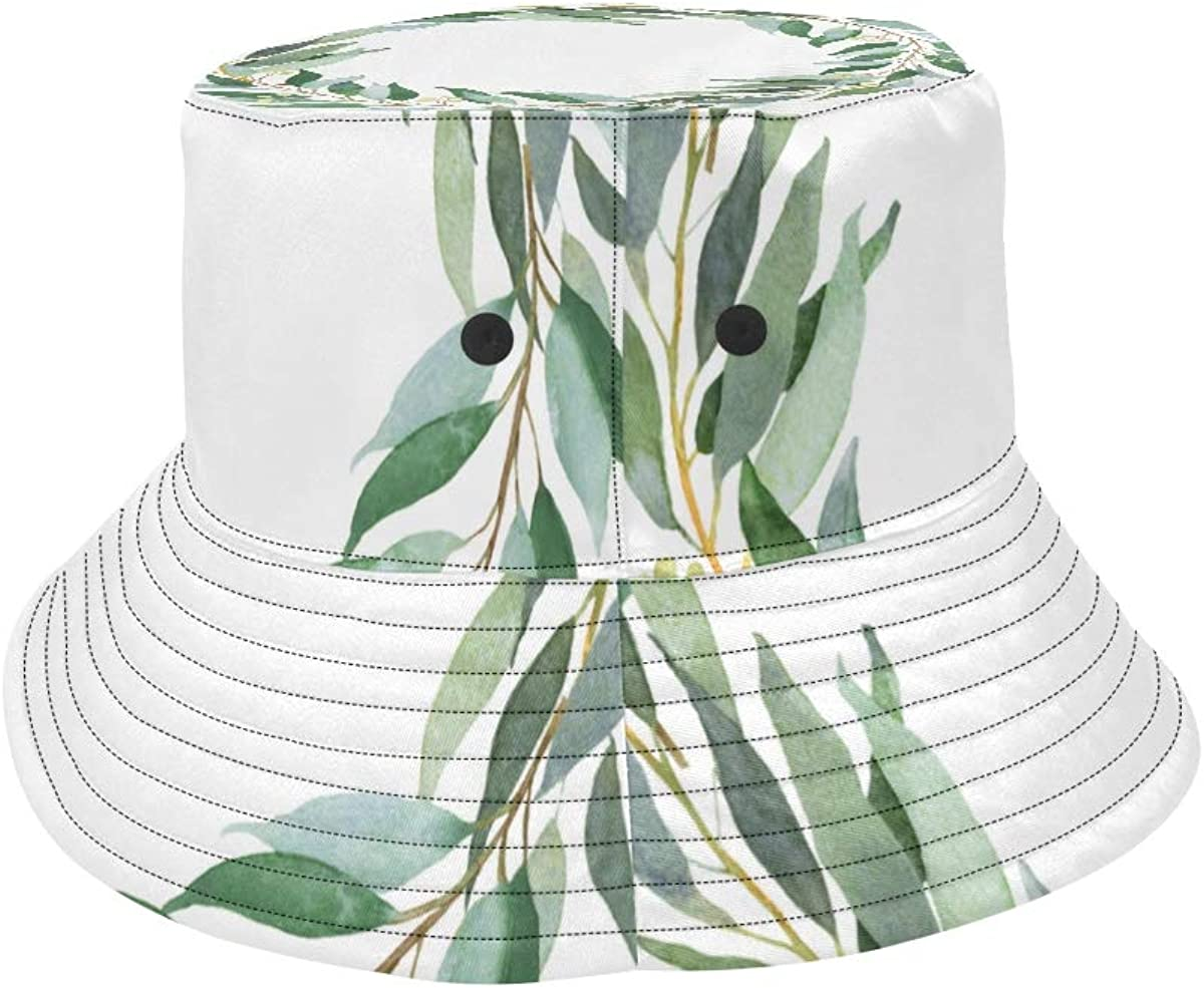 Eucalyptus Leaves Green Decoration Summer Unisex Fishing Sun Top Bucket Hats for Kid Teens Women and Men with Packable Fisherman Cap for Outdoor Baseball Sport Picnic