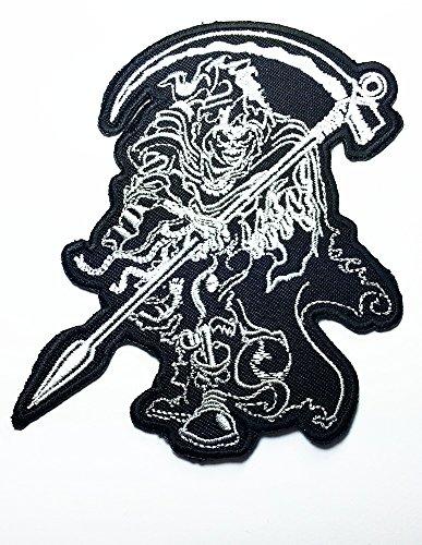 Grim Reaper Skull Ghost Sand Clock Timer of Dead Biker Rider Hippie Punk Rock Heavy Metal Tattoo Biker Punk Rock Logo Motorcycle Jacket Vest Biker Patch Approx: 9x10 Cm