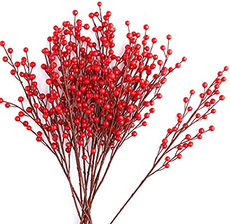 Factory Direct Craft Package of 6 Artificial Mixed Red Weatherproof Berry Picks for Indoor and Outdoor Decorations and Displaying