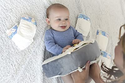 Image; Snuggwugg Infant Toddler Wiggle Free Diaper Changing | Interactive Tummy Time Pillow | Great for Travel and Baby Support
